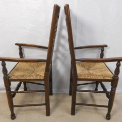 Antique Ladder Back Chairs With Rush Seats Blue Chair Bay Banana Rum Cream Carbs Set Of Eight Elm Ladderback Seat Dining - Sold